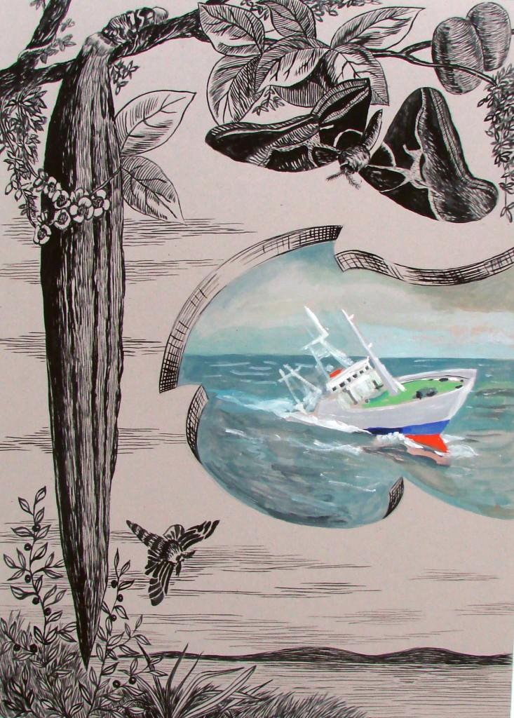 Patricio Cabrera.  Sin título. 2009. Témpera sobre cartón. 100x70cm. Imagen cedida por la Galería Alfredo Viñas.
