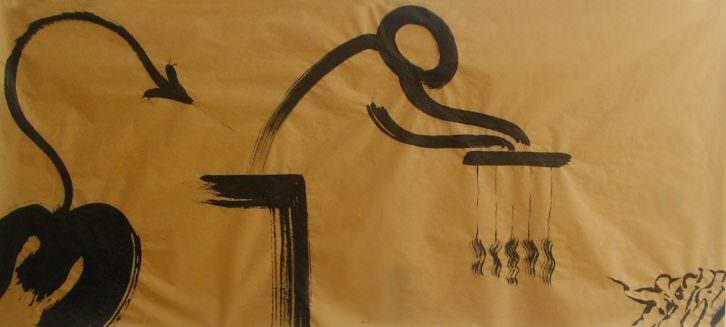 Alex Bodea, Friez Drawing (detail). Ink on paper, 90 x 200cm, 2013. Imagen cortesía de Galería José Robles.