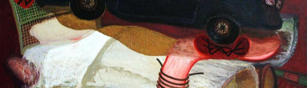 Francisco Peinado, Alunizaje. 2011 oleo sobre lienzo. 130 x 195 cm. Imagen cortesía de Galería JM.