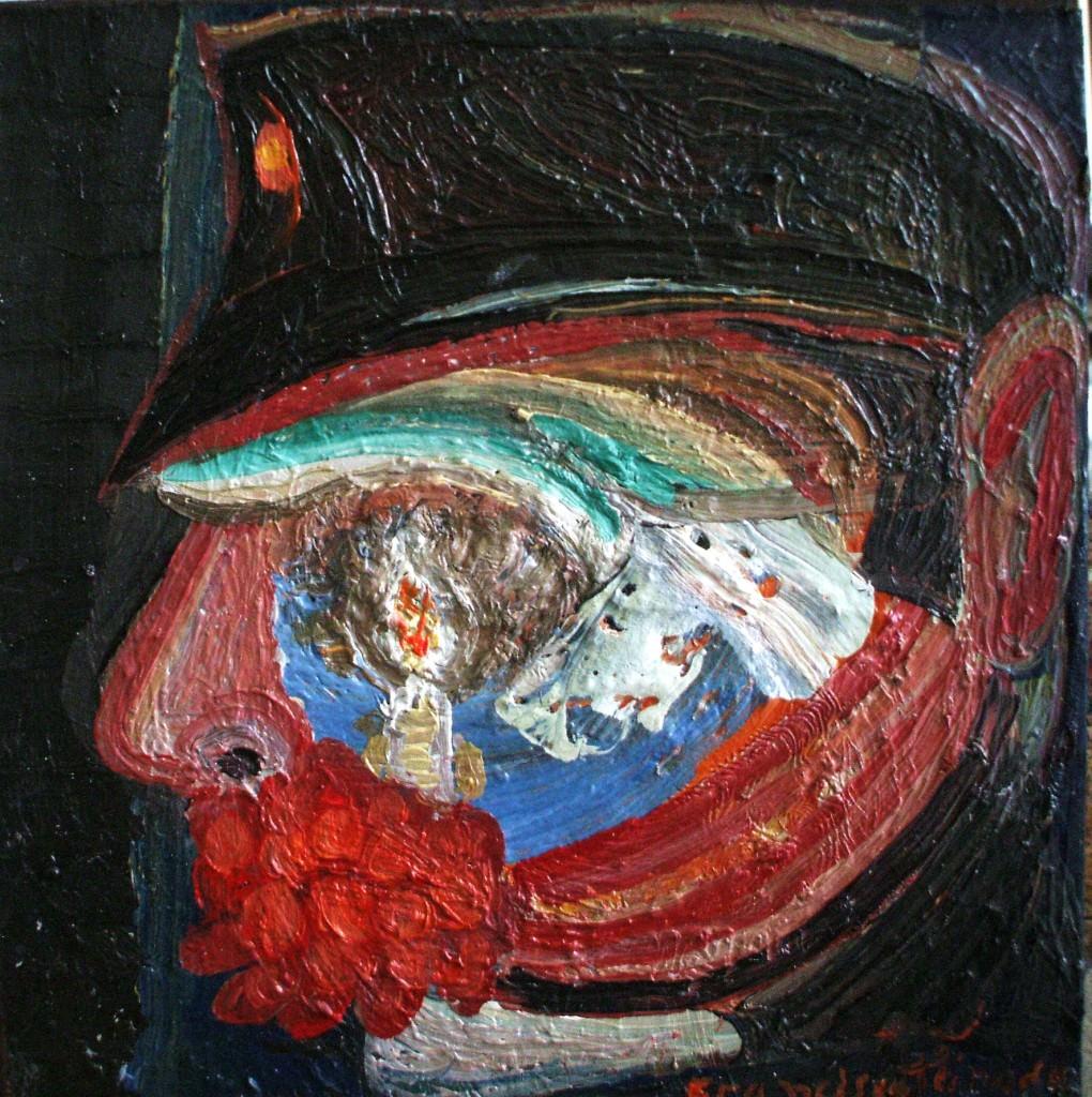 El capitán. 2013 óleo sobre madera. 20 x 20 cm. Imagen cortesía de Galería JM.