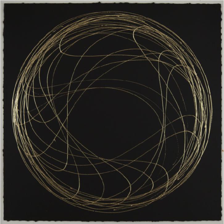 """Roberto Coromina, serie """"Oro"""", 2013. Oro sobre papel, 48x48 cm. Imagen cortesía de La New Gallery."""