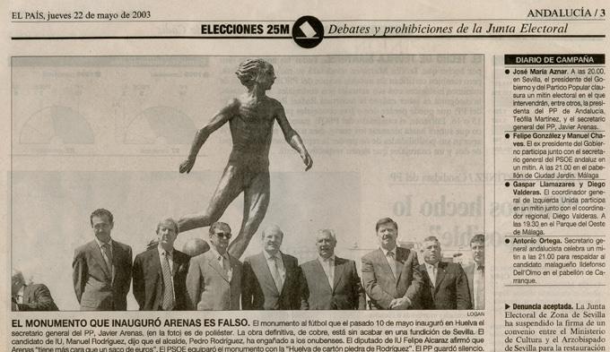 Rogelio López Cuenca / Elo Vega. Monumento al fútbol. Imagen por cortesía de los artistas