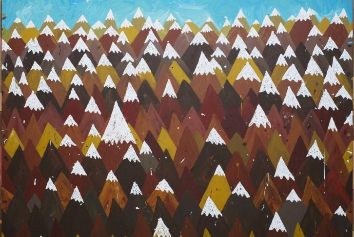 """""""Montañas"""", Antonio Ballester Moreno, 2012. Acrílico sobre lienzo, 195 x 253 cm. Imagen cortesía de Galería MAISTERRAVALBUENA."""