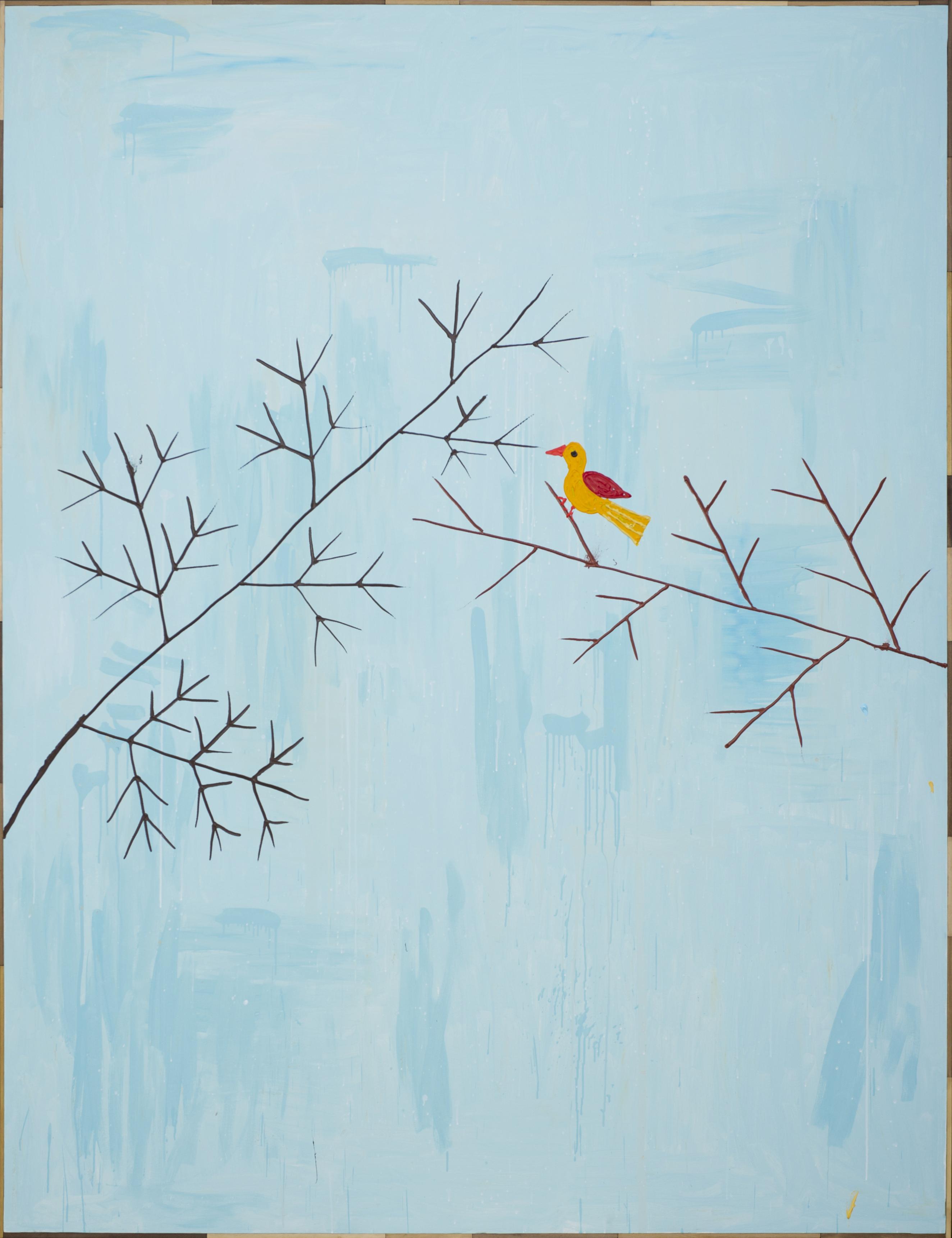 """Pájaro"", Antonio Ballester Moreno, 2013. 253 x 195 cm. Imagen cortesía de Galería ""Montañas"", Antonio Ballester Moreno, 2012. Acrílico sobre lienzo, 195 x 253 cm. Imagen cortesía de Galería MAISTERRAVALBUENA."