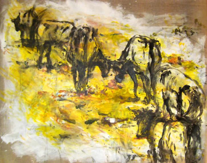 Carretera con vacas, de Carlos Montesinos. Imagen cortesía de Galería Cuatro