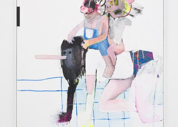 """Putos cerdos"", Bel Fullana, 2013. Acrílico, rotulador, lápiz y bolígrafo sobre tela. 160x130 cm."