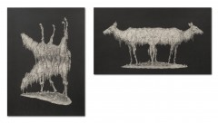 Replica. 2013. graphite on paper. Diptych. 35x25 cm and 23 x 40 cm.