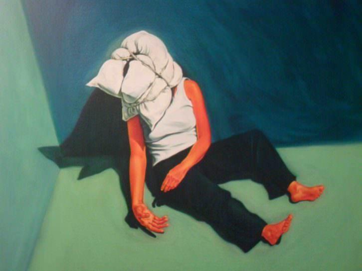 Detalle de la obra de Mery Sales, Mujer elefante III, en la exposición Monstruo. Historias, promesas y derivas.