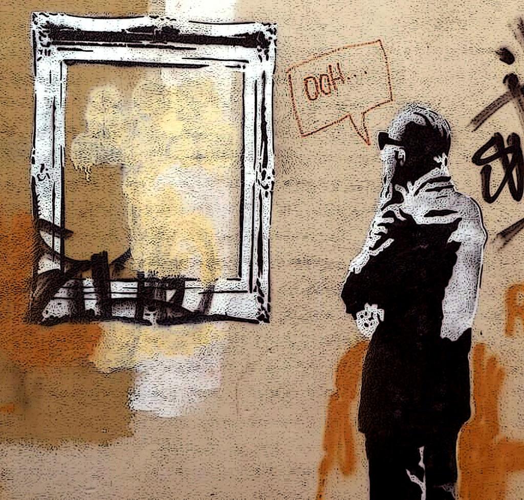 Obra de Banksy, para 'III Congreso Internacional Virtual Arte y Sociedad'. Imagen cortesía de José Luis Crespo.