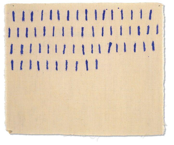 """Giorgio Griffa, """"Segni verticali"""", 1973. Acrílico sobre tela. 26 x 31 cm. Imagen cortesía de Galería Rafael Pérez Hernando."""