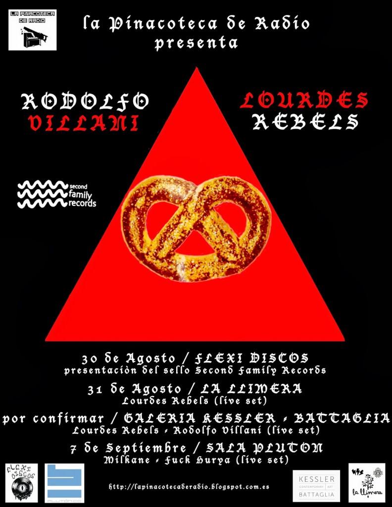 Cartel de presentación de Rodolfo Villani y Lourdes Rebels. Imagen cortesía de La Pinoteca Radio.