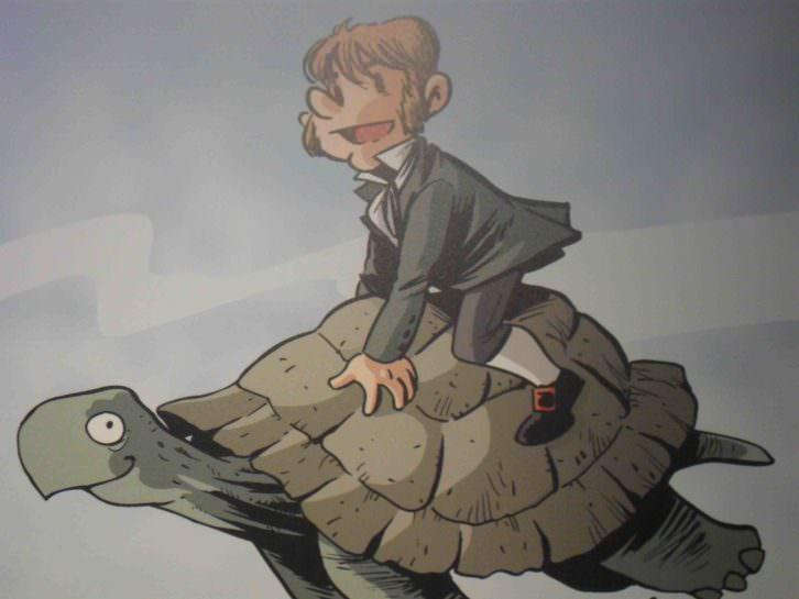 Ilustración de Jordi Bayarri, en la exposición Darwin y Galileo a través del cómic. Palau de Cerveró