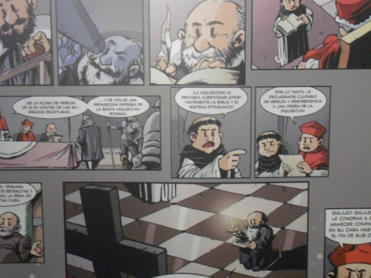 Viñetas de Jordi Bayarri, en la exposición Darwin y Galileo a través del cómic. Palau de Cerveró