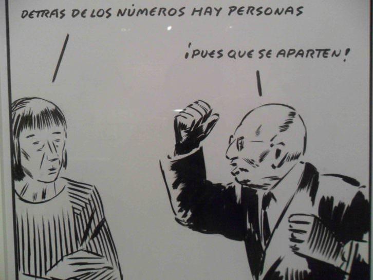Una de las viñetas de El Roto en La Nau.