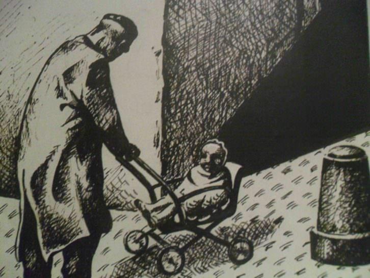 Detalle de uno de los dibujos de El Roto en La Nau.