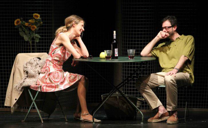 """Ana Caleya y Daniel Moreno en """"Los hermosos días de Aranjuez"""", en Sala Ultramar. Imagen cortesía de Galantys Teatro."""