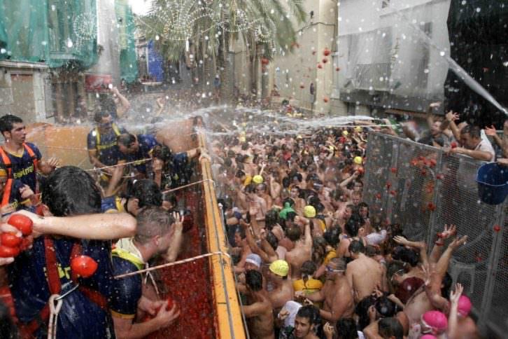 Imagen de la fiesta de la Tomatina en Buñol, Valencia. Fotografía: Pablo Argente