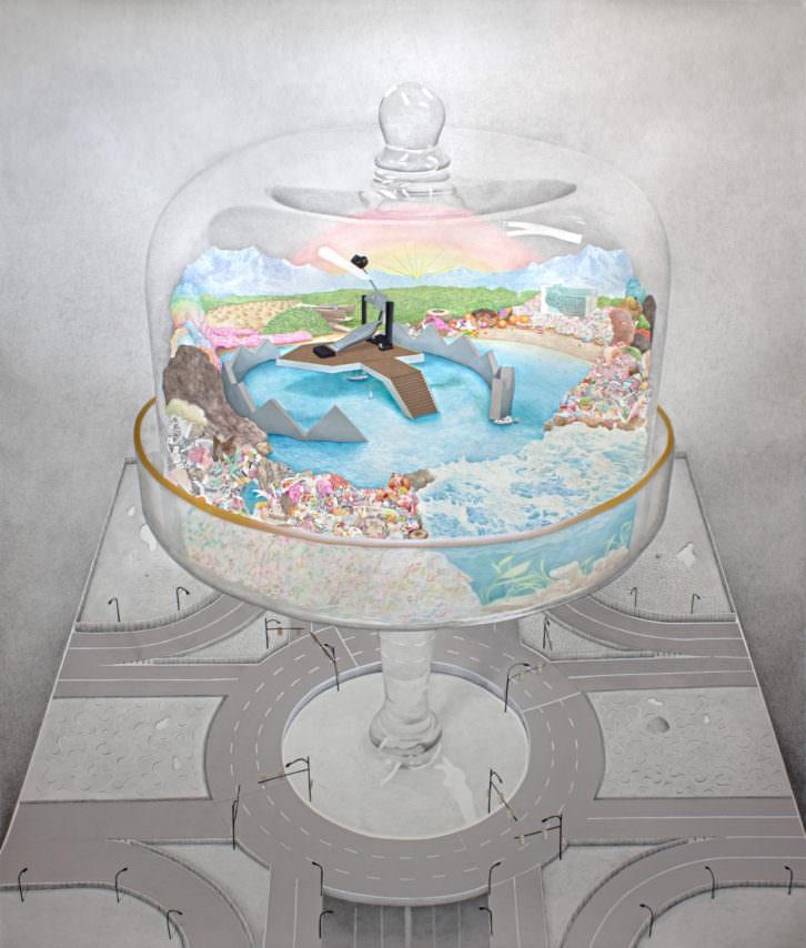 Santiago Talavera. Turismo de interior. Grafito, acuarela, lápices de color y collage sobre papel. 180 x 152 cm. 2013. Imagen cortesía de La New Gallery