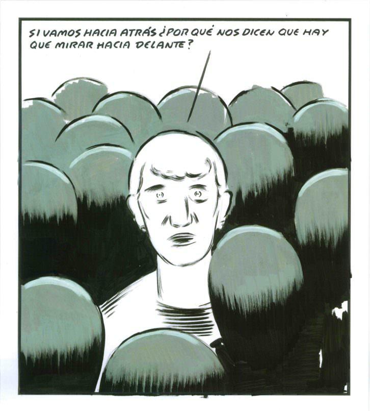 Una de las viñetas de El Roto en el Centre Cultural La Nau. Imagen cortesía de La Nau de la Universitat de València.