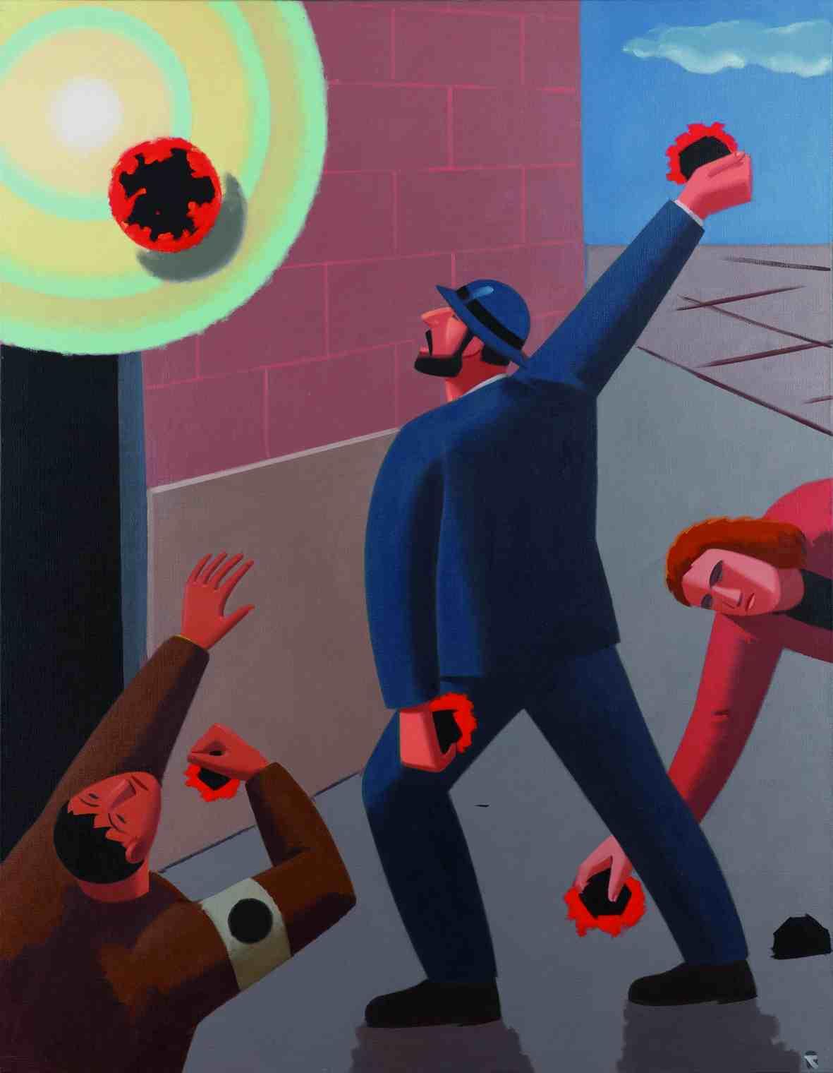 Pintura de El Roto en la exposición de La Nau. Imagen cortesía del Centre Cultural La Nau.