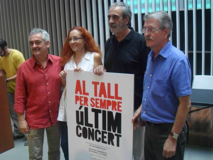 Jordi Reig, Maribel Crespo, Manolo Millares y Vicent Torrent, durante la presentación en el OCCC del último concierto del grupo.