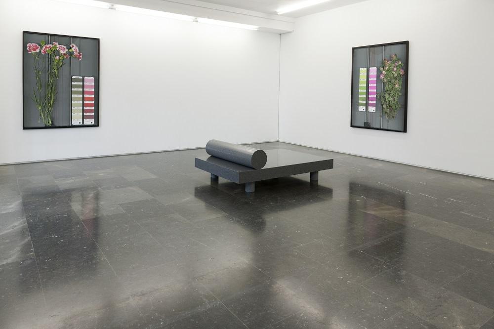 Vista de la exposición de Mathieu Mercier en la Galería Luis Adelantado, Valencia. En el centro, Last Day Bed, 2012