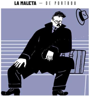 Ilustración de Walter Benjamin, por Arnal Ballester para 'La maleta de Portbou'.