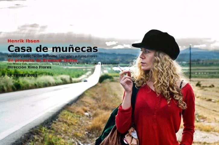 Cartel anunciador de la obra 'Casa de muñecas', dirigida por Ximo Flores y protagonizada por Rebeca Valls. Imagen cortesía de Teatro Rialto.