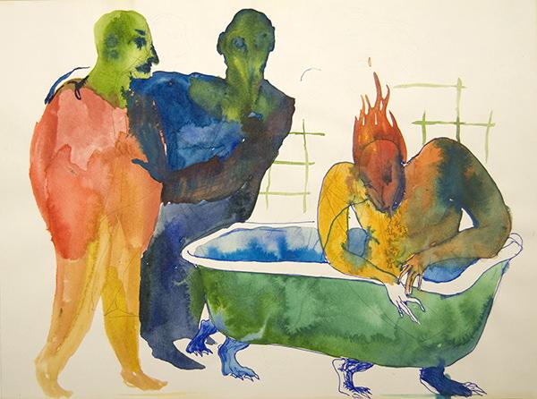 """""""El baño"""". 21 x 28cm Sergio Delicado. Imagen cortesía de la  Kir Royal Gallery"""