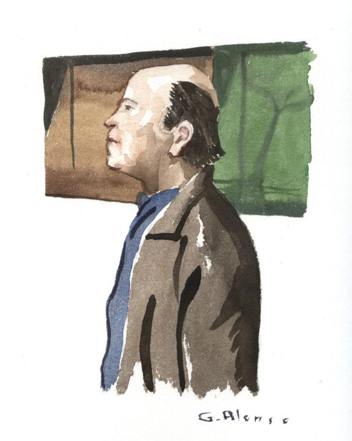 Retrato de Guillermo Peyró Roggen para 'Retratos furtivos en el Malva', de Gabriel Alonso. Imagen cortesía de Café Malvarrosa.