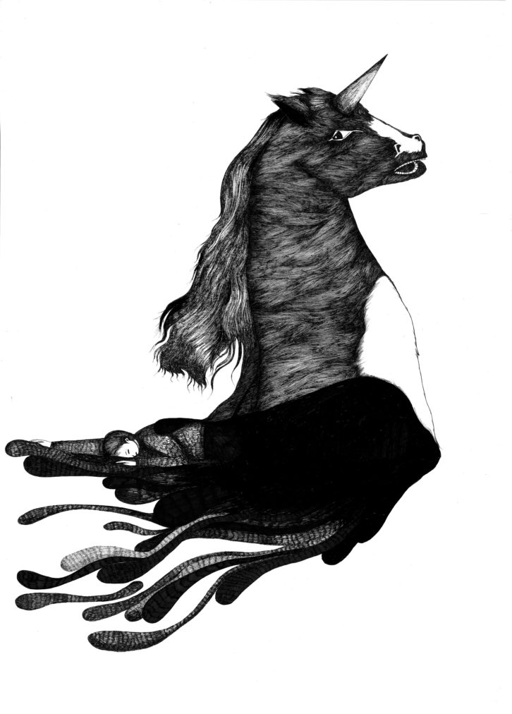 Julia Prat. Descomposición dentro de un unicornio (secuencia 2) 50 x 70cm. Estilográfico sobre papel. 2012. Imagen cortesía del Espai