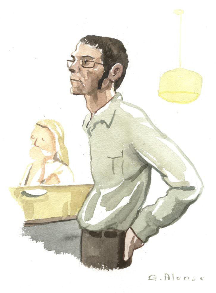 Retrato de Víctor Segrelles en 'Retratos furtivos en el Malva', de Gabriel Alonso. Imagen cortesía de Café Malvarrosa