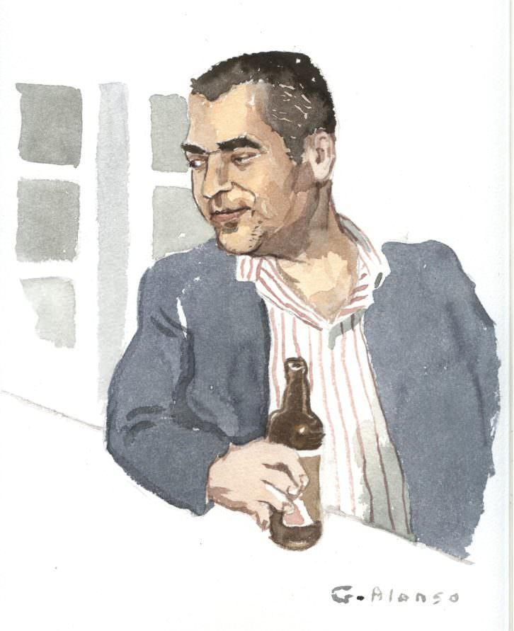 Retrato de Wences Ventura para la exposición 'Retratos furtivos en el Malva', de Gabriel Alonso. Imagen cortesía de Café Malvarrosa.