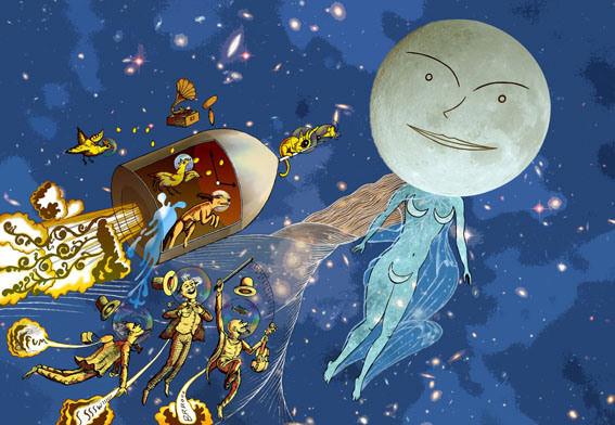 Viaje alrededor de la luna, de Julio Verne, por Javier Gay, en la exposición 'Aventura de Paper' de la Facultat de Magisteri.