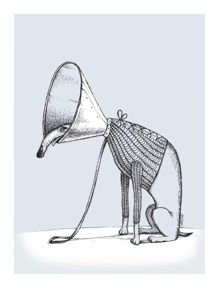 Ilustración de Carlos Michel Fuentes en la exposición 'El ring de los canallas'. Imagen cortesía de Imprevisual Galería.