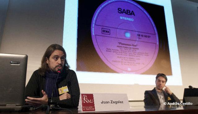 Juan Zagalaz, en una de las  conferencias del Congreso Internacional: El Jazz en España. Fotografía: Andrés Castillo. Imagen cortesía de SGAE Valencia.