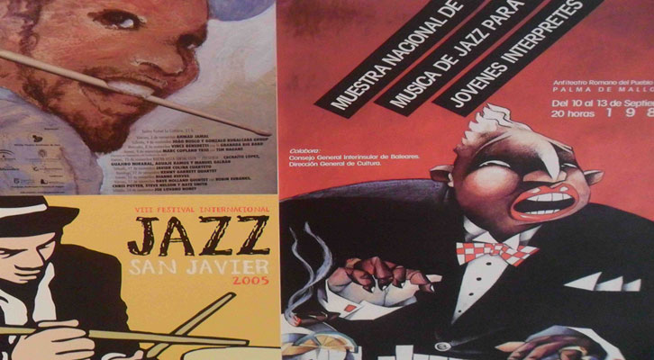 Carteles de la exposición 'Con acento. Memoria gráfica del jazz en España'. La Nau de la Universitat de València.