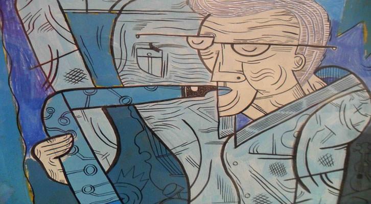 'Gracias, Pedro', ilustración de Chema Peral e Inma Lorente, en la exposición 'Con acento. Memoria gráfica del jazz en España. La Nau.