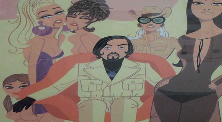 Detalle de la portada del disco 'The Crazy World of Jess Franco' en la exposición 'Con acento. Memoria gráfica del jazz en España'. La Nau.