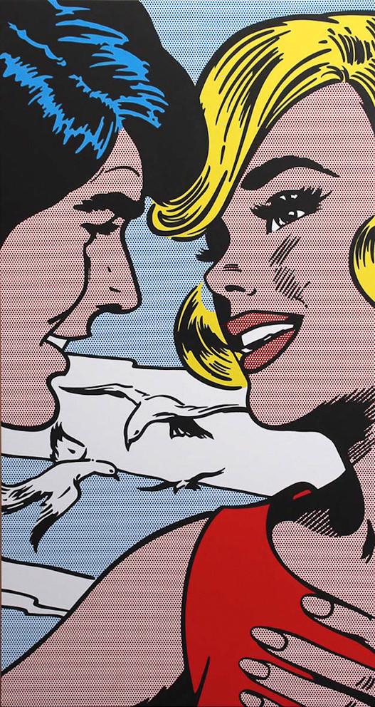 """""""El encuentro"""". Obra de Toni Sánchez. Esmalte y acrílico. Imagen por cortesía de la galería."""