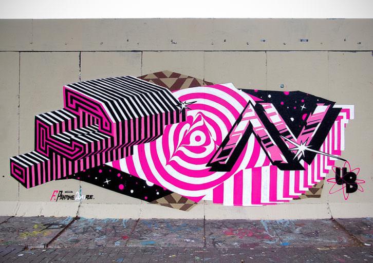 Una de las obras urbanas de Felipe Pantone. Imagen cortesía de Mr. Pink.