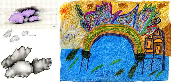 Dibujo original de M.D. Villegas realizado en el Psiquiátrico de Carabanchel entre los años 70/80 y esquema/ boceto de la artista. Técnica mixta sobre papel. 29x21 cm