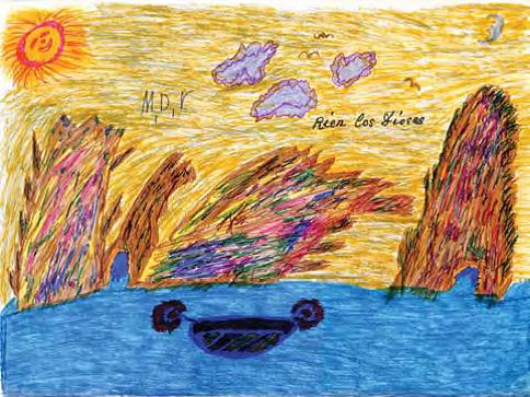 """Dibujo original de M.D. Villegas, titulado """"Ríen los dioses"""" y realizado en el Psiquiátrico de Carabanchel entre los años 70/80."""