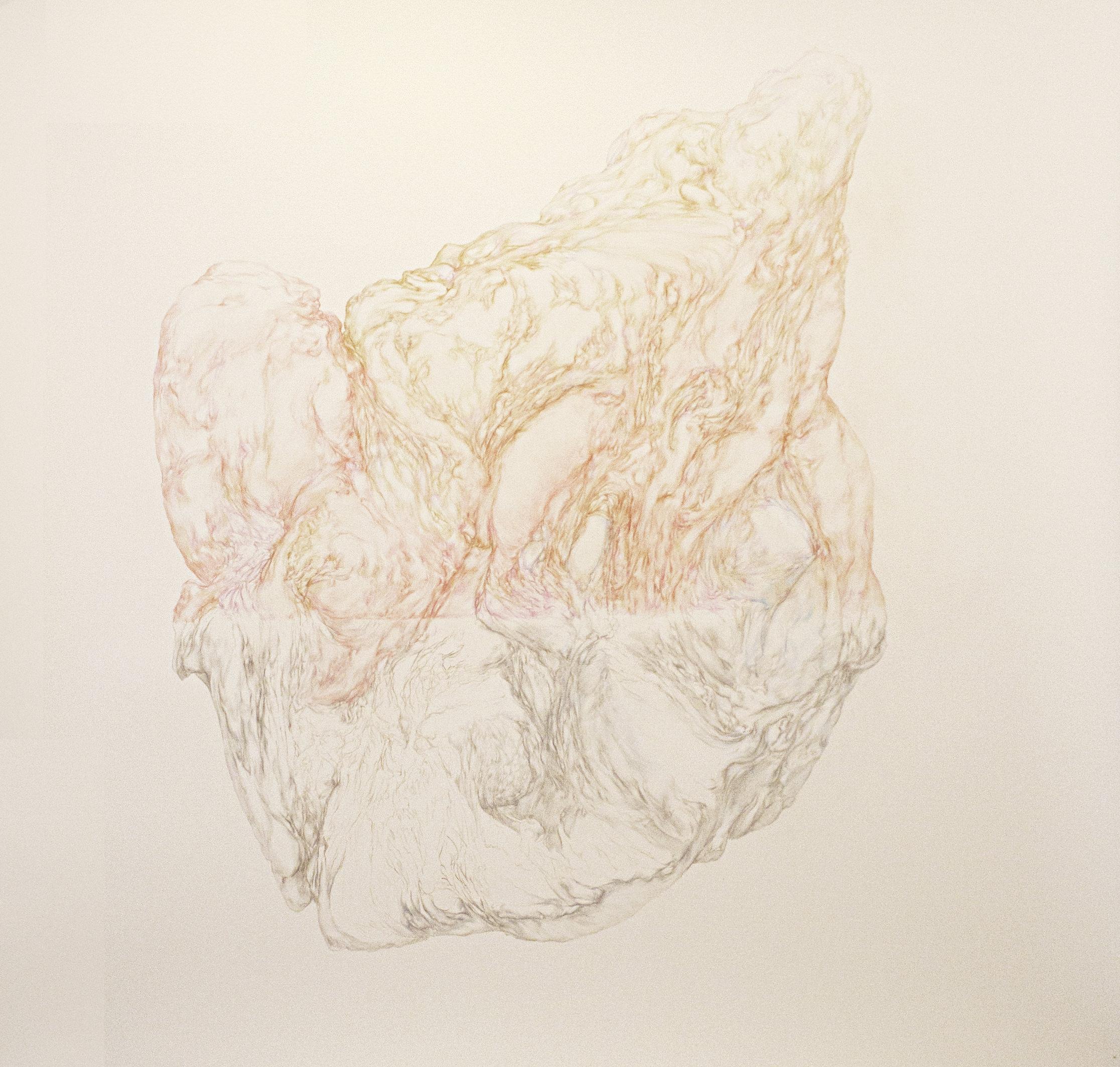Obra de Henrike Scholten. Lápiz sobre papel, 150x150cm. Imagen cortesía de la galería.