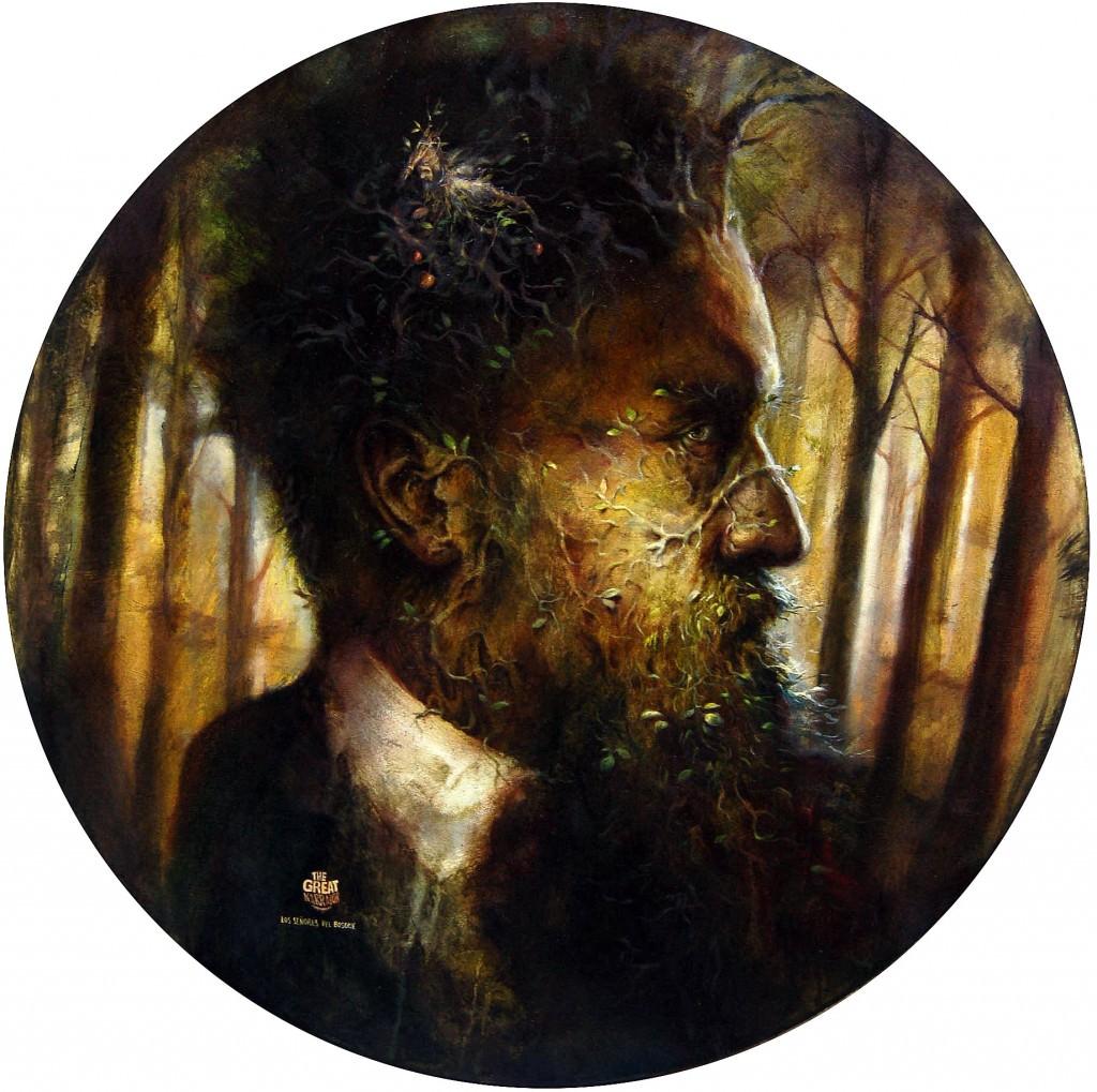 José Luis Serzo, The grear narrator, 2013 (óleo sobre lienzo, 100 x 100 cm). Galería Moproo Shangai. Imagen cortesía de la Galería.