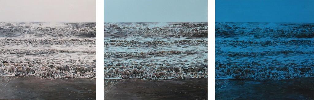 Ramón Surinyac, Blue Light, 2013 (óleo sobre madera, 70 x 210 cm). 3 Punts Galería. Imagen cortesía de la Galería.