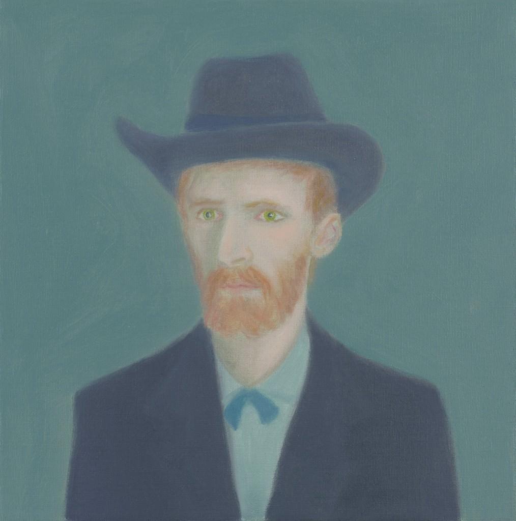 Juan Fernández Álava, Vincent con sombrero. 2013. (Óleo sobre lienzo. 24x24 cm.) Imagen cortesía de La New Gallery.