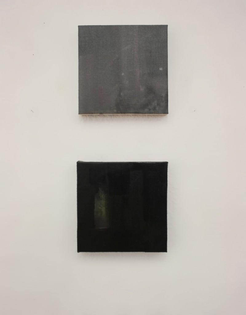 Nacho Martín Silva, La primavera de Millet, 2013, (díptico, óleo sobre lienzo,  19 x 19 cm c/u). Imagen cortesía de la Galería Nuble.