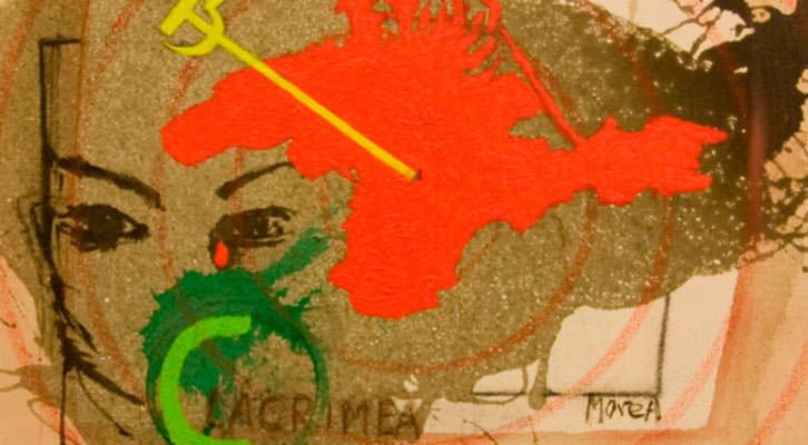 Obra de José Morea para la exposición express sobre Crimea. Imagen cortesía de Café Malvarrosa