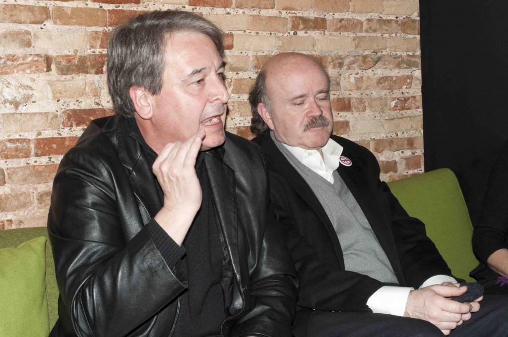 Toni Benavent (i) y Josep Lluís Sirera, durante los Desayunos Makma de Lotelito. Foto: Gala Font de Mora.
